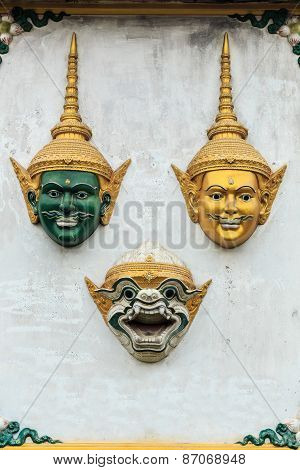 Hua Khon (thai Traditional Mask) Used In Khon - Thai Traditional Dance Of The Ramayana Epic Saga