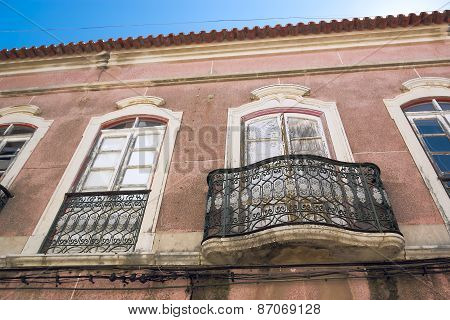 Facade Of The House In Historic Center Of Faro Portugal.