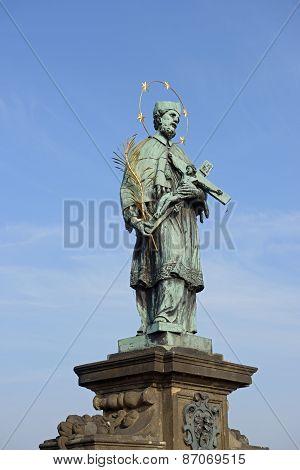 St. John Of Nepomuk Statue On Charles Bridge In Prague.