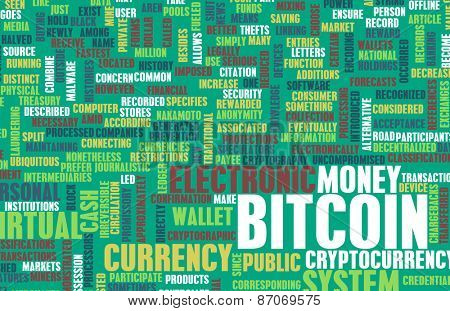Bitcoin or Bitcoins as a Crypto Currency Concept background