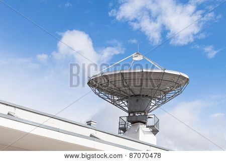 Military Radiolocator Station With Parabolic Radar Antenna Dish