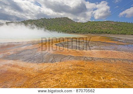 Morning Mist On A Colorful Thermal Pool
