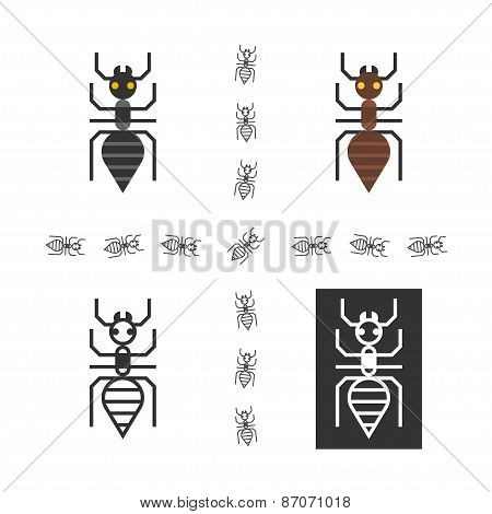 Black ant flat vector element.