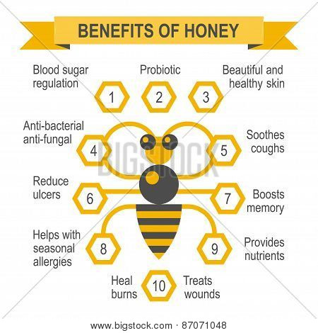 Healthy honey infographic placard.