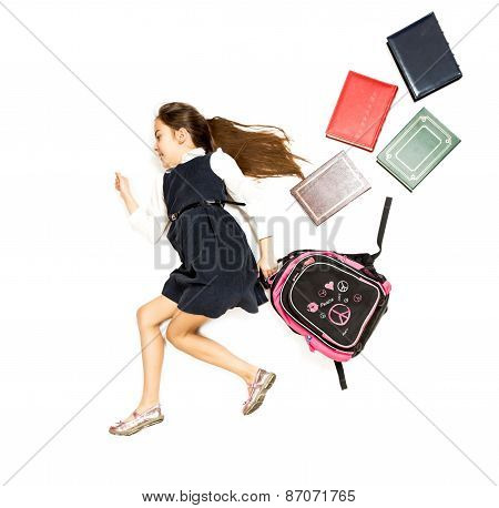 Conceptual Photo Of Cute Schoolgirl Running To School With Backpack
