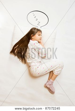 Cute Girl Sleeping On Big Cushion With Speech Bubble