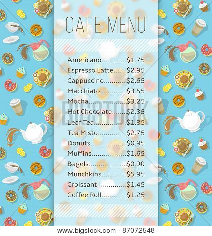 Cafe Menu Template With Food And Drink Prices