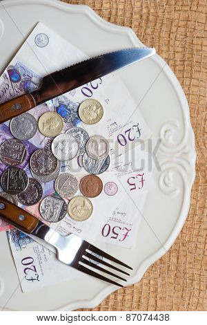 British Money On Kitchen Table, Coast Of Living