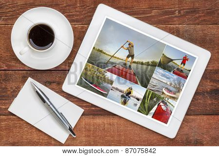 reviewing pictures of stand up paddling featuring a senior male on a digital tablet with a cup of coffee. All screen pictures copyright by the photographer with the same model (self).