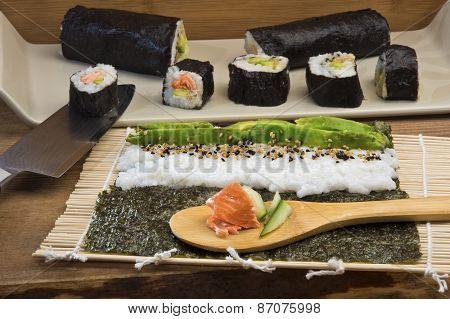 Making Maki Sushi Rolls