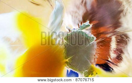 Splash of Egg in Glass Surface, Violence Concept