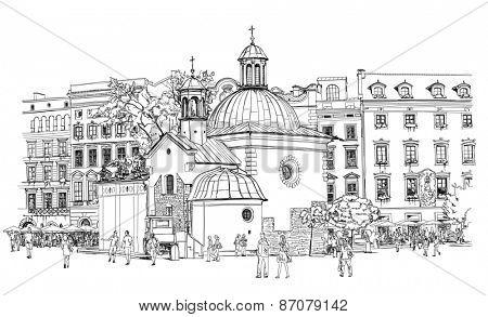 The town square in Krakow. Poland. Black & white sketch
