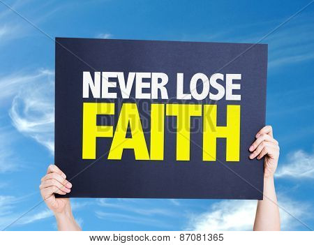 Never Lose Faith card with sky background
