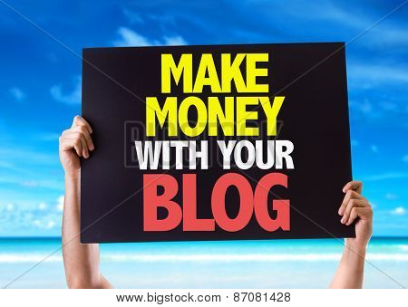 Make Money With Your Blog card with beach background