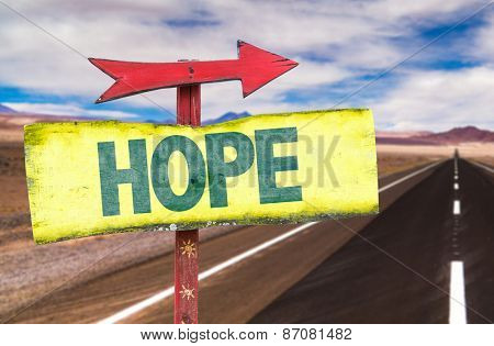 Hope sign with road background