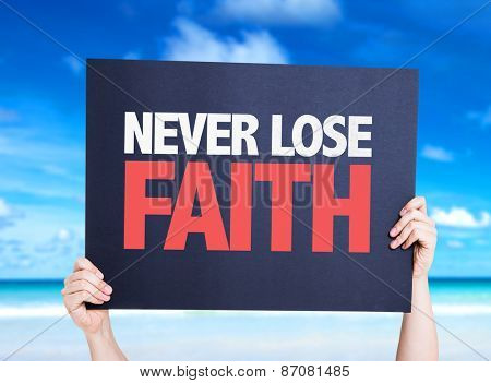 Never Lose Faith card with beach background