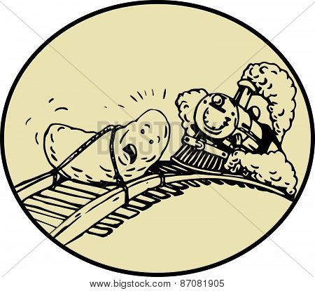 Date Fruit Tied Rail Track Train Coming Oval