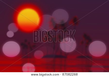 Sunset Over Tropic Islands Blurred