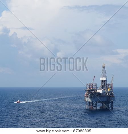 Offshore Drilling Platform (Jack up drilling rig) and crew boat