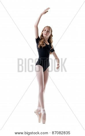 Diligent little ballerina, isolated on white