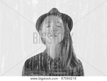 Monochrome Double Exposure Portrait Of Beautiful Girl With Trees