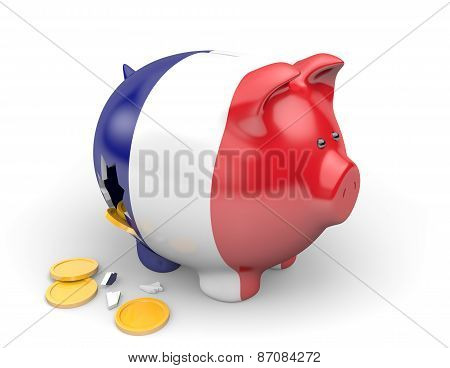 France economy and finance concept for unemployment and national debt crisis
