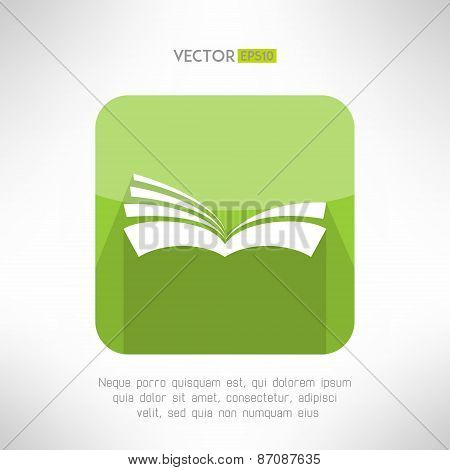 Green book icon. Notebook sign. Learning and ebook reader concept. Vector