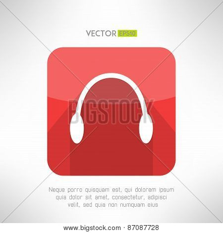 Headphones icon in modern flat design. Audio music symbol with long shadow. Vector illustration