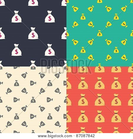Money bag with dollar sign seamless patterns set. Wealth and richness concept. Vector illustration