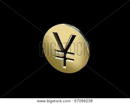 Image Of The Character Of The Yen In The Form Of Coins On A Black Background