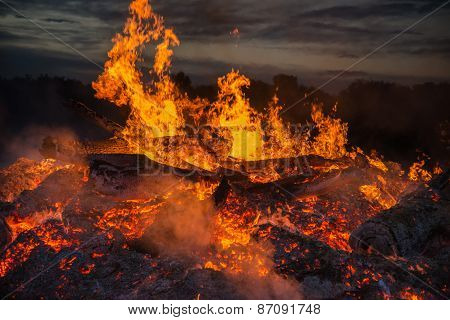 landscape with bonfire, night and hot flame.