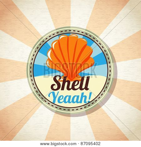 Sea shell on the shore. Vector.
