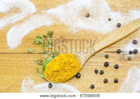 Curry In A Wooden Spoon On A Table