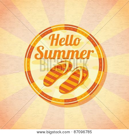 Hello summer retro background with beach slippers. Vector.