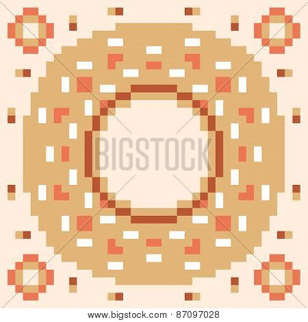 pattern pixel art donut orange