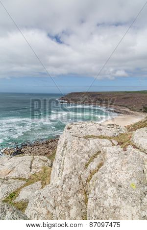 Whitesand bay in cornwall england uk