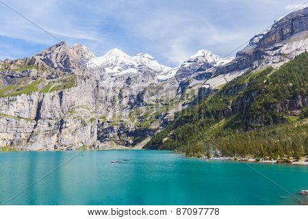 Stunning View Of Oeschinensee (oeschinen Lake) With Bluemlisalp And Frundenhorn