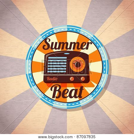 Retro summer beat radio badge. Vector.