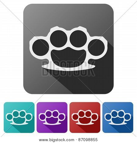 Set Flat icons of brass knuckles.