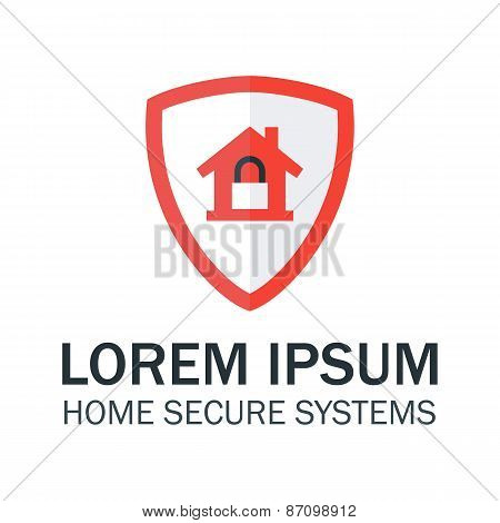 Home Security With Red Shield And Padlock