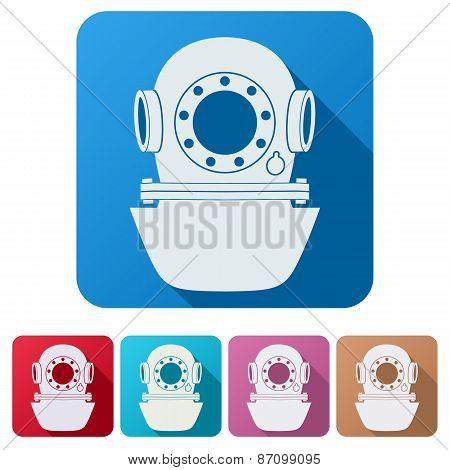 Set Flat icons of Underwater diving helmet.