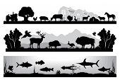 foto of farm landscape  - set of black and white vector landscapes wildlife farm marine life - JPG