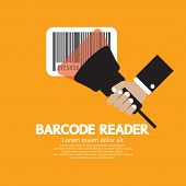 picture of barcode  - Hand Holding Barcode Reader Vector Illustration - JPG