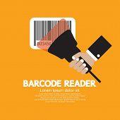 foto of barcode  - Hand Holding Barcode Reader Vector Illustration - JPG