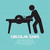 pic of sawing  - Circular Saws Black Symbol Vector Illustration - JPG