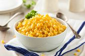 picture of corn  - Organic Yellow Steamed Corn in a Bowl - JPG