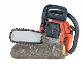 foto of chainsaw  - chainsaw and cut wood isolated on white background - JPG