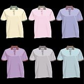stock photo of v-neck collar  - Polo shirts with collars and buttons set - JPG
