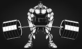 stock photo of strongman  - Vector illustration bodybuilder performs an exercise with a barbell - JPG
