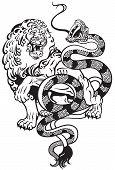 stock photo of jungle snake  - lion and snake struggle  - JPG